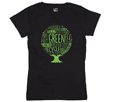 Earth Day Tree Word Organic Compost Sustainable Recycling Womens T Shirt Black