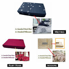 3 Pce - QUALITY Grand Atelier Fitted Sheet + 2 Pillowcases - QUEEN KING