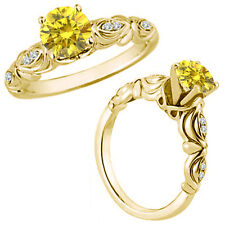 0.75 Carat Yellow Diamond Fancy Solitaire Engagement Bridal Ring 14K Yellow Gold