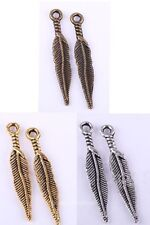 Tibetan Silver Charms 20Pcs Long Feather Leaf Charms Pendants Findigs,29x5mm