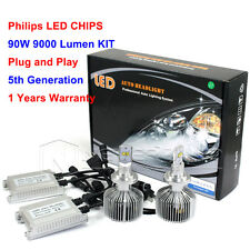 1Pair H4 H7 H11 HB3  LED Headlight DRL Bulbs 6000K Philips Lamp Super Light