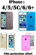 Coque COULEUR Iphone 4, 5, 5S, 5C, 6, 6+ etui housse Apple silicone gel + 1 FILM