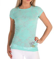 E.vil Womens Burnout T-shirt Embellished Crystals Candy Sea Green