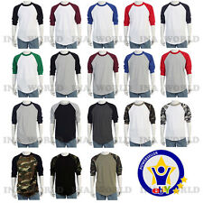 Baseball 3/4 Sleeve Raglan Plain T- shirts Team Sports Jersey fashion Tee  S~3XL