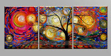 New 3pc Modern Abstract Huge Art Oil Painting Tree