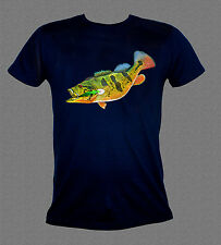 """Peacock bass and lure"" fishing T-shirt"