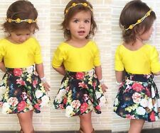 New Baby Girls Toddler Clothing Set Yellow Top + Floral Skirt 2 Pcs/Outfit Suit