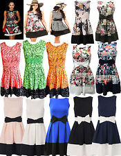 womens ladies bow detail skater dress floral print swing flared stripe size 8-16