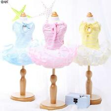 NEW Clothes For Dog Pet Puppy Clothing Cotton Lace Tutu Striped Dog Dress XS-XL