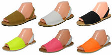 Womens Ladies Slingback Beach Sandals Flat Faux Leather Neon Size 3 4 5 6 7 8