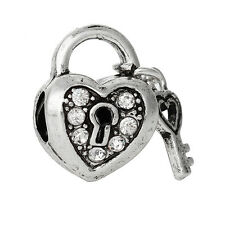 Silver Tone Heart Lock Clear Crystal Key European Charm Slide Bead fits Bracelet