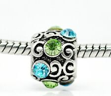 Silver Tone Blue Green Twirl Crystals Slide European Charm Spacer fits Bracelets
