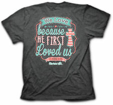 Cherished Girl Christian Shirt Kerusso Womens We Love Because He First Loved Us