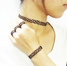 Trendy Tattoo Choker Stretch Necklace/SET Black Henna Vintage Elastic BoHo 80s