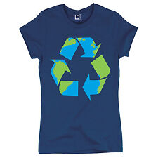 Recycle Logo Print Earth Day Go Green Reduce Reuse Mother Earth - Womens T-Shirt