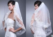 New White/Ivory Lace edge Wedding Dream Bride Veil with Comb Bridal Accessories