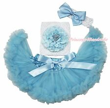 White Crochet Tube Top Light Blue Peony Pettiskirt Baby Girl Tutu Outfit NB-3Y