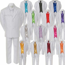 7pc Satin Vest Neck+Tie Boy Baby Toddler Kid Teen White Formal Suit Tuxedo S-20