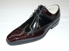 Men's Smooth Leather Shoes GIORGIO VENTURI Wing Tip Oxford 6483 Burgundy Black