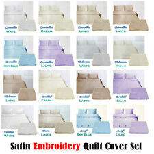 3 Pce Silky Satin Embroidery Quilt Doona Duvet Cover Set DOUBLE QUEEN KING
