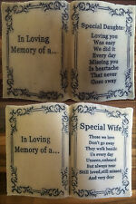 IN LOVING MEMORY Memorial Open Book Graveside Cemetery Plaque Wife Daughter