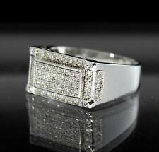 Classic Rhodium Tone Signet Exclusive Micro Pave ICY CZ Set Swag Pinky Mens Ring