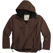 Surplus Windbreaker Breathable Water Repellent Hooded Jacket Fleece Lining Brown
