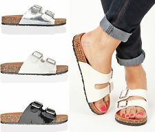 Womens ladies beach summer holiday walking double buckle strap flat sandals size