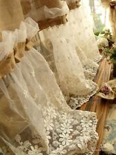 """Custom 72""""wide-Shabby French Country Chic Burlap Curtain Panel Cream Lace Ruffle"""