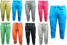 LADIES PLAIN GYM SPORTS CASUAL TRACK CUFFED 3/4 CROP CROPPED JOGGERS JOG BOTTOMS