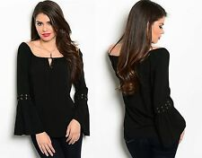 WOMENS LADIES BELL SLEEVE BLACK OFF THE SHOULDER GYPSY BOHO TOP SIZE 8 10 12