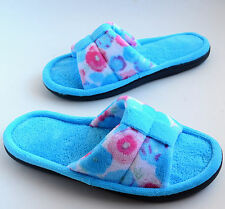 ISOTONER Womens Microterry Open-toe Slippers Poppy Blue Size S M L XL #X3758