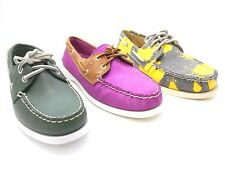 New Women's Sperry Top-Sider Leather and Canvas A/O 2 Loafers / Boat Shoes