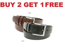 New Men's Casual Leather Belt w/ Buckle Black Brown Dress Genuine Size Mentholy