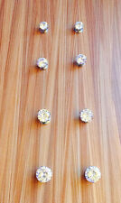 6 PCS  CZ ROUND CLEAR, BLACK MAGNETIC STUD EARRINGS, MAGNET, woman,men 5~8MM