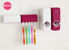 White Red Bathroom Tool Auto Toothpaste Dispenser Wall-Mounted Brush Holder Kit