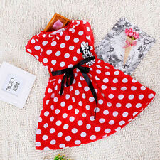 For 1~6 Years Old Girls Kids Cotton Cute Dot Mickey Minnie Mouse Bowknot Dress