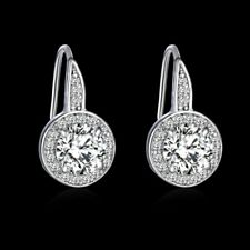 18k white gold filled clear sapphire crystal ear stud hoop earrings jewelry gift
