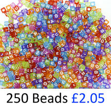 Transparent Cube Alphabet Beads 6 x 6mm Mixed Letters