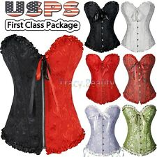 Sexy Women Lace Up Bow Overbust Corset Bustier Basque Top Lingerie Plus Size USA