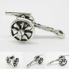 Cannon Gun Moveable Wheel 3D 925 Sterling Silver Charm with Converter or Chain