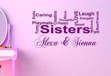 Personalised Sister love vinyl wall art sticker -ANY NAMES- 16 colours - kids66
