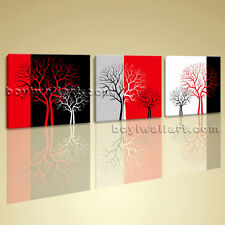 Large Giclee Print Canvas Wall Art Framed Ready to Hang 3 Pieces Abstract Tree