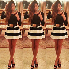 Women Classic Black & White Stripe Skirt Cocktail Party Fit-and-Flare Mini dress