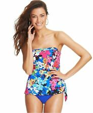 NWT Swim Solutions One Piece Swimsuit Floral Strapless Bathing Suit Size 8 10 12