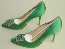 $965 NEW MANOLO BLAHNIK HANGISI LIME GREEN Satin JEWELED Pumps SHOES 41 40.5 40