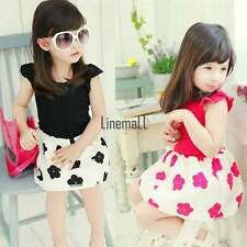 2015 Summer Girls Clothes Skirt Kid Baby Ruffled Cap Sleeve Floral 3-11Y Dress