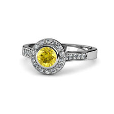 Yellow Sapphire & Diamond (SI2-I1, G-H) Halo Engagement Ring 1.36 ct tw 14K Gold