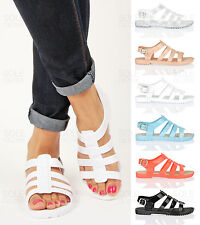 Women ladies summer beach retro gladiator buckle flat jelly jellies sandals size