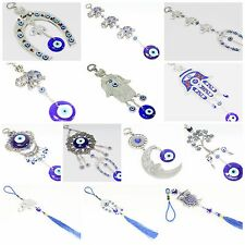 Turkish Blue Evil Eye Owl Elephant Hamsa Horse Shoe Moon Wall &Car Hanging Charm